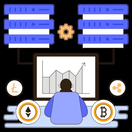 Cryptocurrency data server Illustration