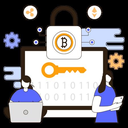 Cryptocurrency encryption Illustration