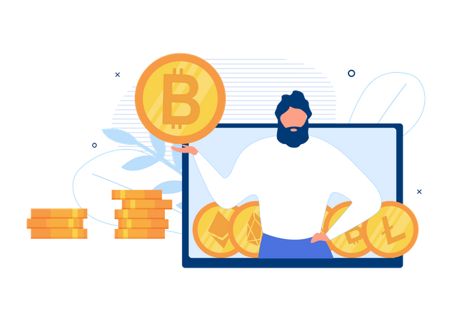 Cryptocurrency Exchange App Illustration