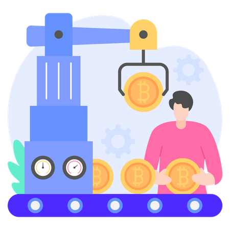 Cryptocurrency Factory Illustration