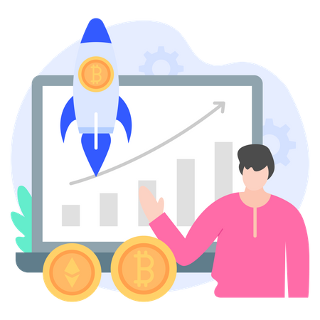 Cryptocurrency Growth Illustration