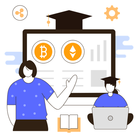 Cryptocurrency investment course Illustration
