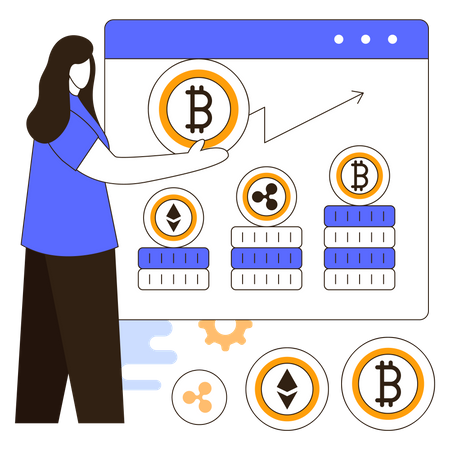 Cryptocurrency market investment Illustration