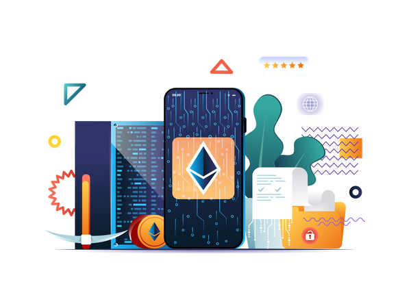 Cryptocurrency mining platform, exchange and investment Illustration