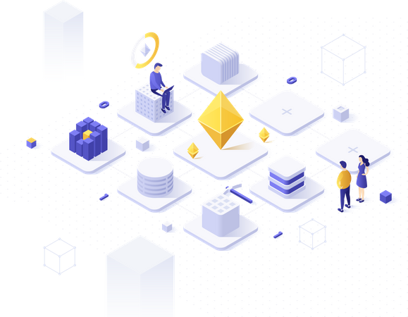 Cryptocurrency mining pool service or technology Illustration