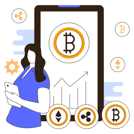 Cryptocurrency mobile app Illustration