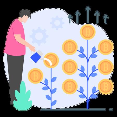 Cryptocurrency Profit Illustration