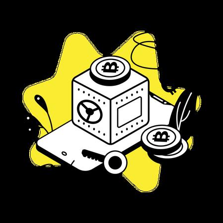 Cryptocurrency safe box Illustration