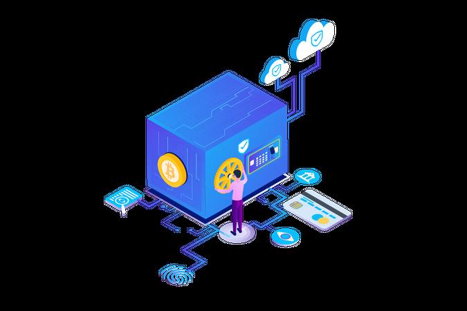 Cryptocurrency Safe Storage Illustration