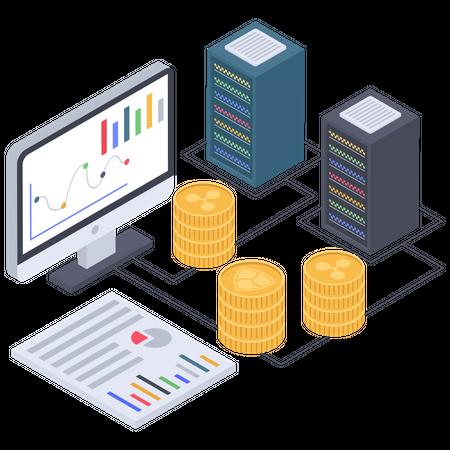 Cryptocurrency Server Illustration