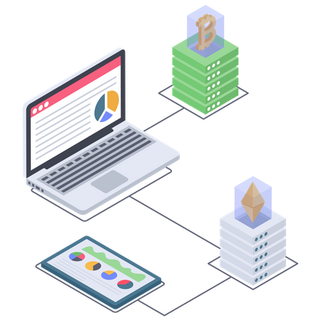 Cryptocurrency Server and Analytics Illustration