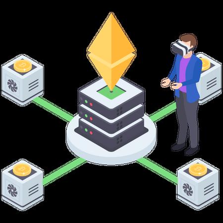 Cryptocurrency Server Management Illustration