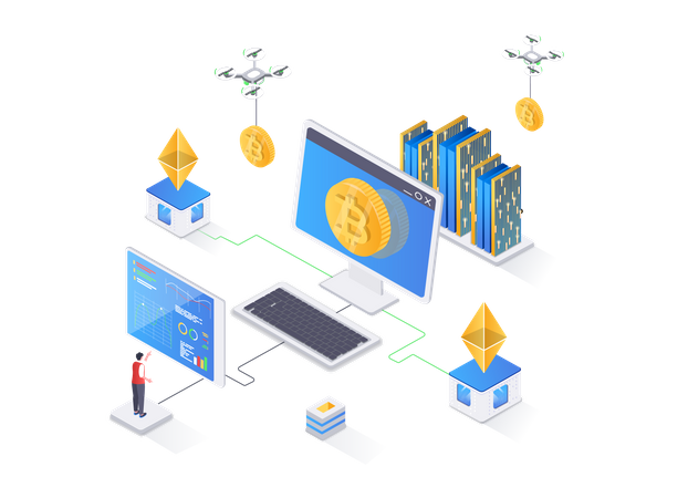 Cryptocurrency technology Illustration