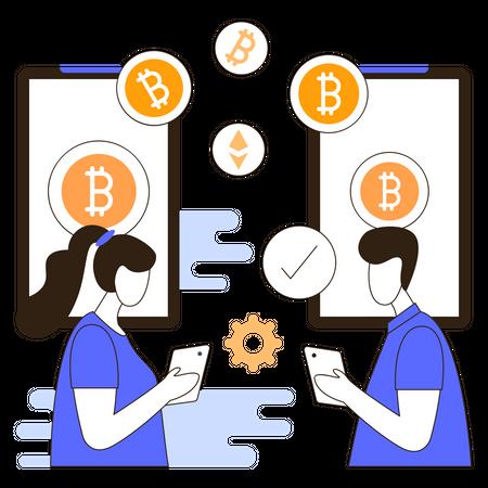 Cryptocurrency transaction Illustration