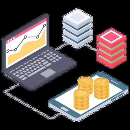Cryptocurrency value analytics Illustration
