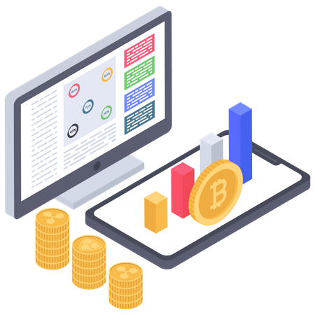 Cryptocurrency values and analytics Illustration