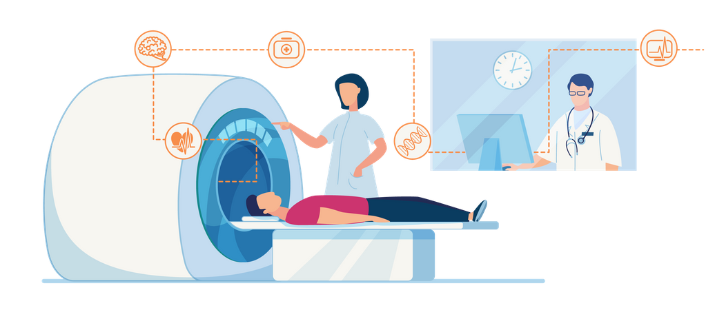 CT or MRI diagnosis in Clinic Flat Banner Template Hospital Human Brain Body Scan Machine for Patient Illustration