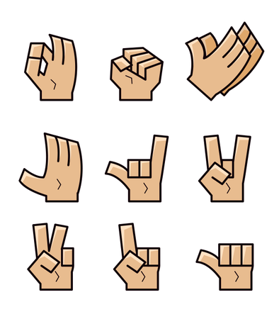 Cube Cartoon Hand Gesture Illustration