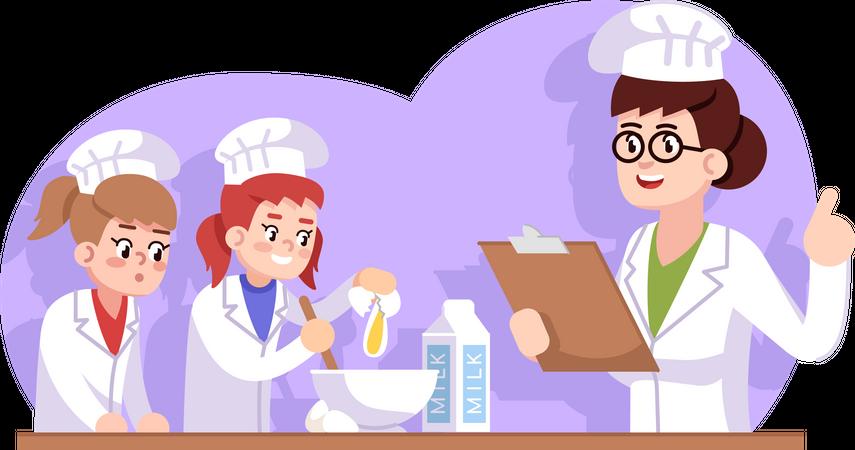 Culinary school for kids Illustration