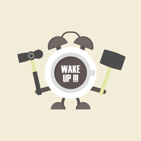 Cup Of Coffee In Alarm Clock Shape, Retro Style Illustration