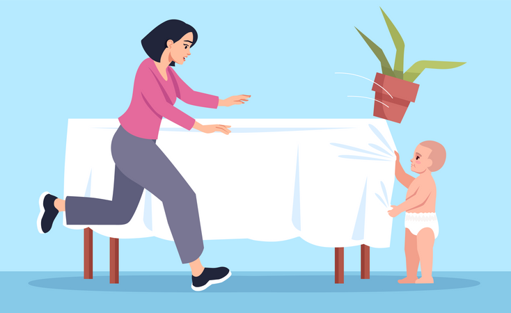 Curious toddler pulls tablecloth with flower Illustration