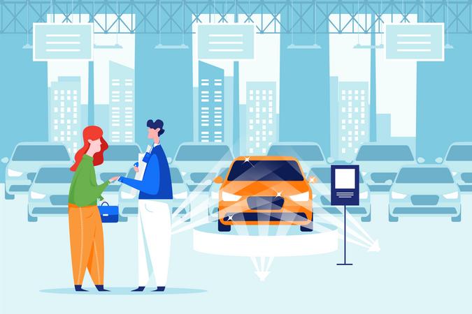 Customer buying highlighted car in car showroom Illustration