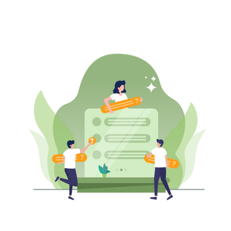 Talk team and sharing information concept Illustration