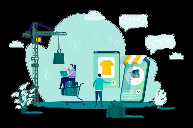 Customer doing online shopping by smartphone Illustration
