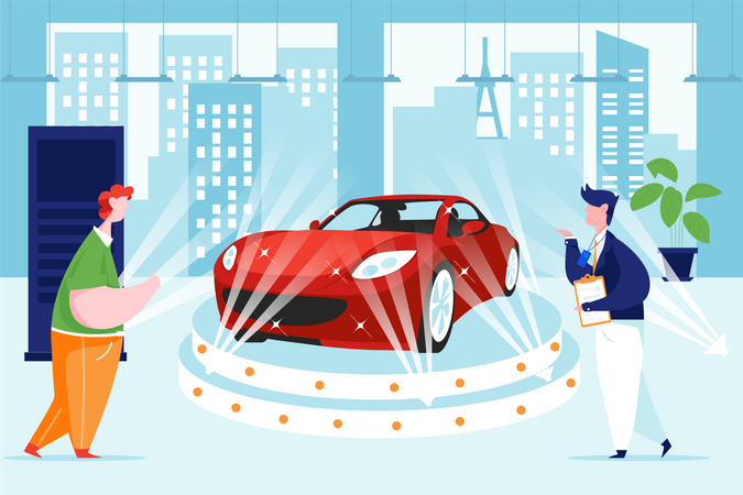 Customer fascinate with highlighted car Illustration