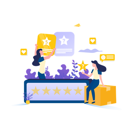 Customer Give 5 Star Rating Illustration