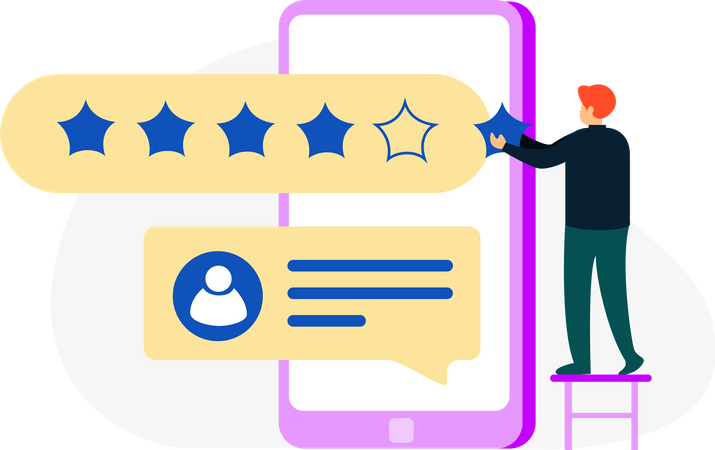 Customer giving Five stars rating Illustration