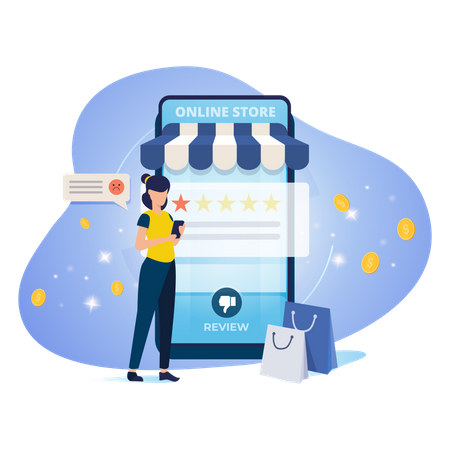 Customer giving negative review to product on online store Illustration
