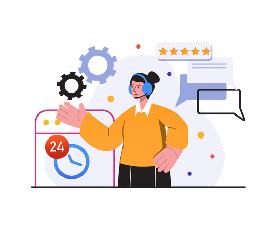 Customer giving review about customer support employee Illustration