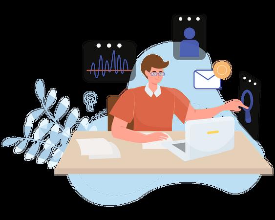 Customer market analyzer Illustration