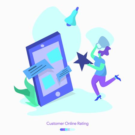 Customer Online Rating Illustration