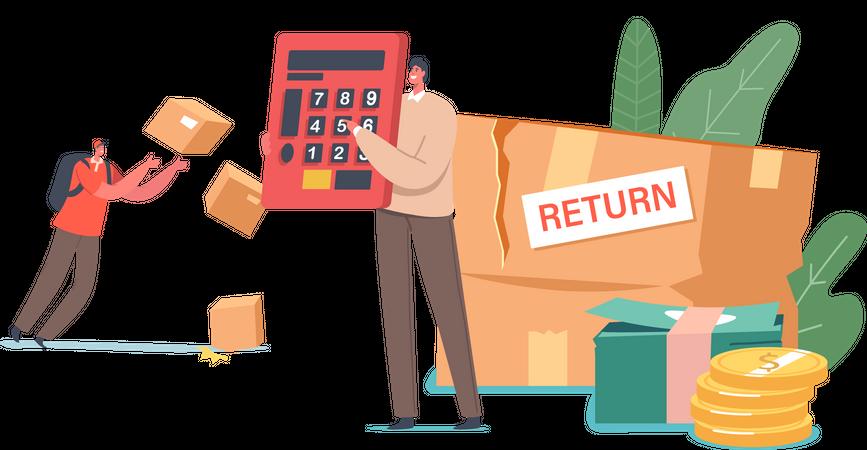 Customer Return and Exchange Damaged Goods to Shop Illustration