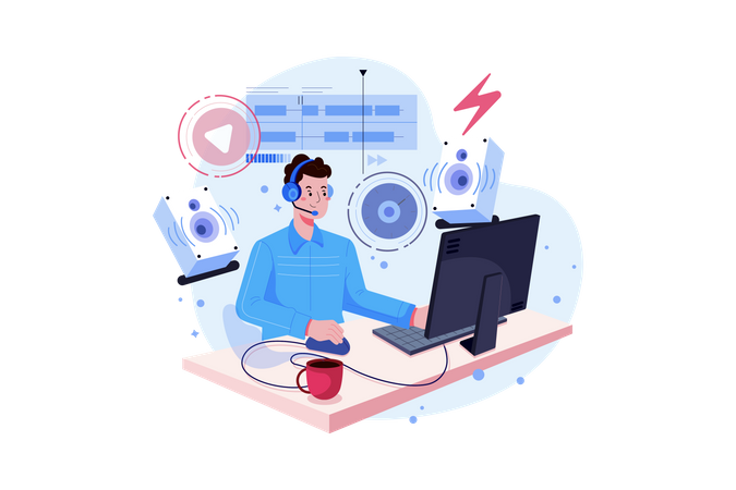 Customer Support and Guide Illustration