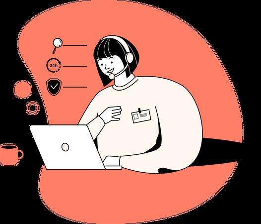 Customer support assistant Illustration