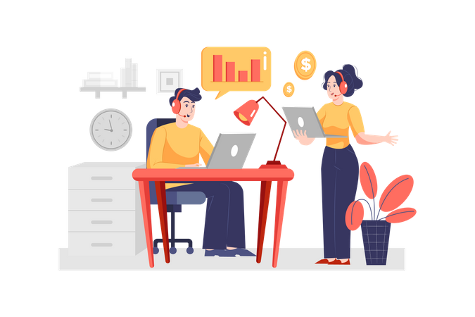 Customer support assistant working in the office Illustration