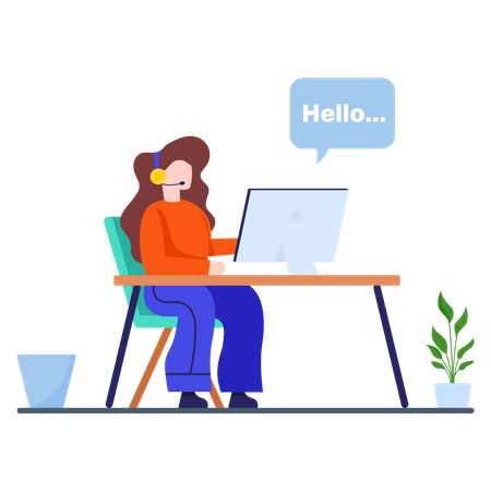 Customer support executive chatting with client Illustration