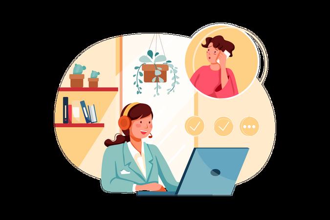 Customer support executive helping customer Illustration
