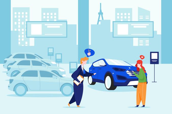 Customer taking loan for buying car Illustration
