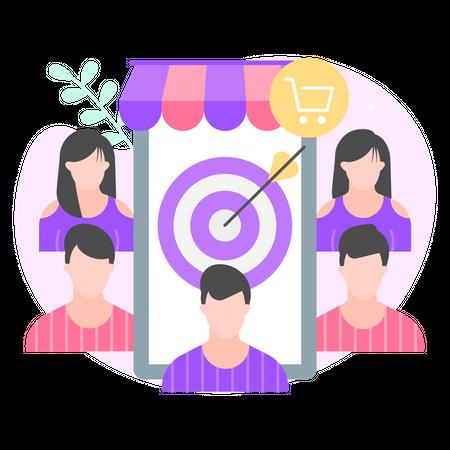 Customer targeted marketing Illustration