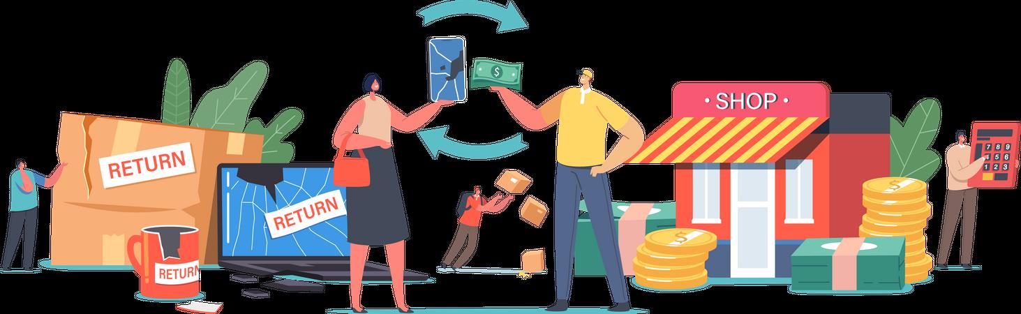 Customers Broken Goods Return and Exchange money Illustration