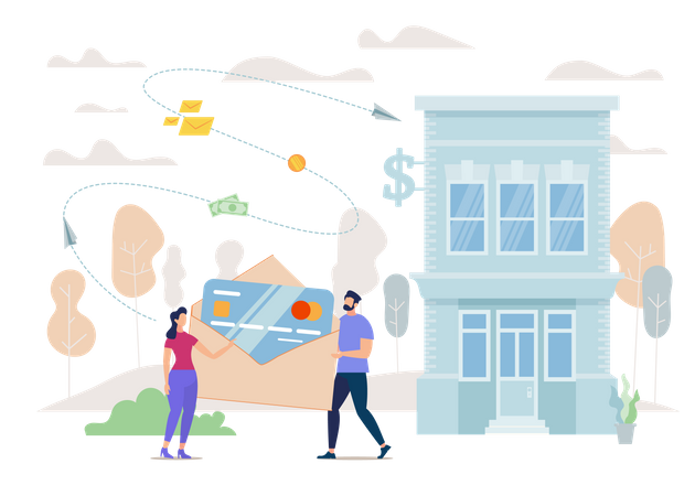 Customers Loan, Mortgage for Young Family, Credit for Small Business Owners Illustration