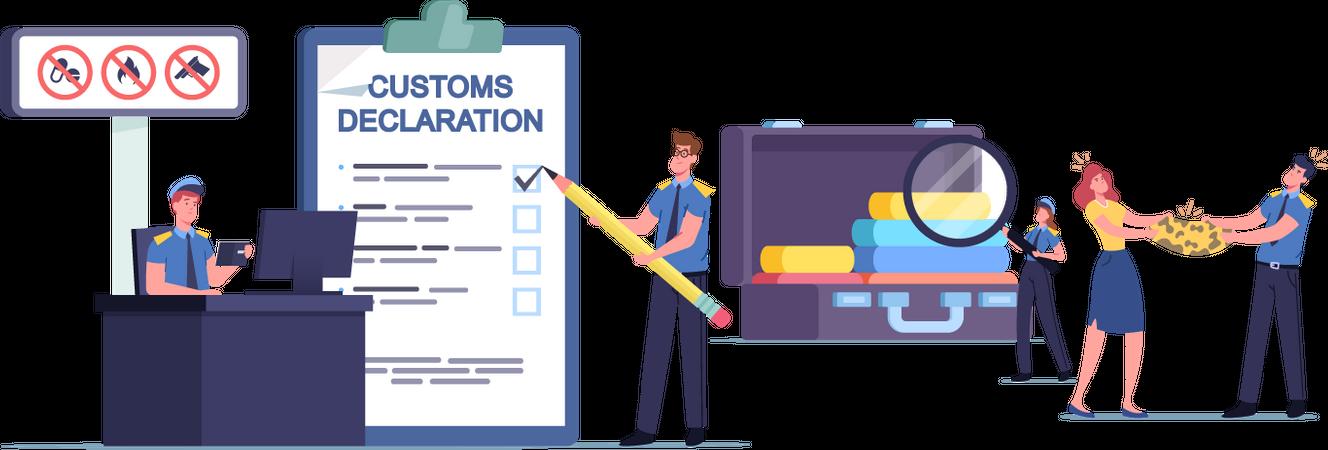 Customs Officer Filling Customs Declaration and Check Passenger Illustration