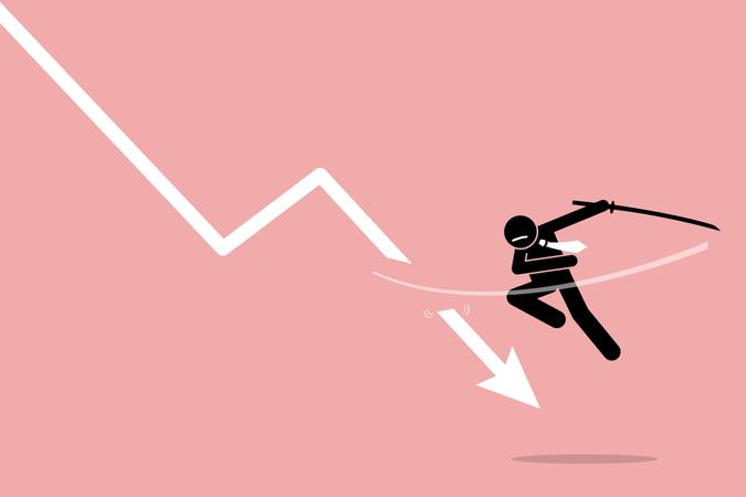 Cut loss by investor or trader Illustration