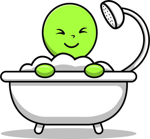 Cute Alien Bathing Shower In Bathtub Illustration