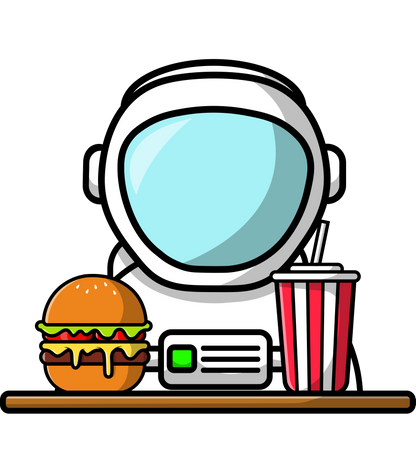 Cute Astronaut With Burger And Soda Illustration