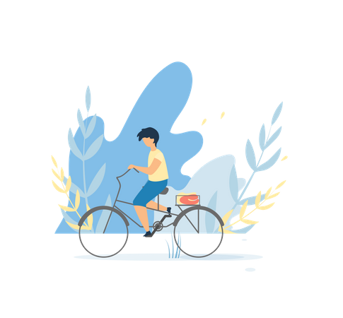Cute boy cycling in the park Illustration